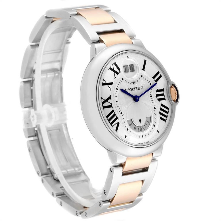 Cartier Ballon Bleu 42 Steel Rose Gold Two Time Zones Watch W6920027 In Good Condition For Sale In Atlanta, GA