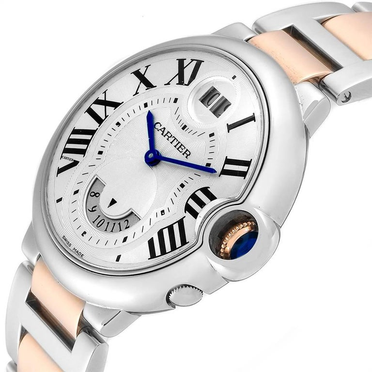 Cartier Ballon Bleu 42 Steel Rose Gold Two Time Zones Watch W6920027 For Sale 1