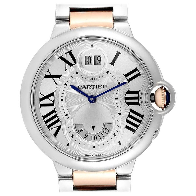 Cartier Ballon Bleu 42 Steel Rose Gold Two Time Zones Watch W6920027 For Sale
