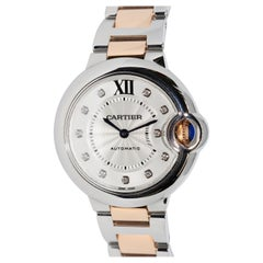 Cartier Ballon Bleu Automatic Diamond Dial Ladies Wristwatch, Steel and Gold
