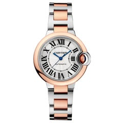Cartier Ballon Bleu Automatic Pink Gold and Steel Ladies Watch W2BB0023