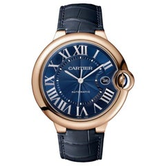 Cartier Ballon Bleu Automatic Pink Gold Blue Men's Watch WGBB0036