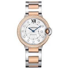 Cartier Ballon Bleu Automatic Pink Gold Steel and Diamond Watch W3BB0004