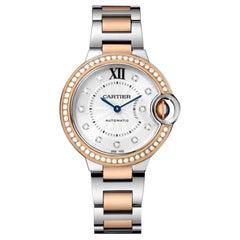 Cartier Ballon Bleu Automatic Pink Gold Steel and Diamond Watch WE902077