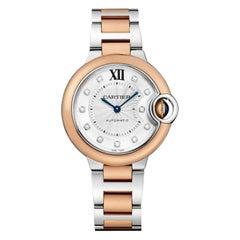 Cartier Ballon Bleu Automatic Pink Gold Steel and Diamonds Watch W3BB0006