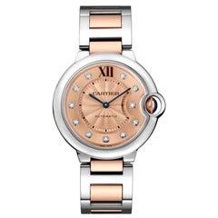 Cartier Ballon Bleu Automatic Rose Gold Steel and Diamond Watch WE902054