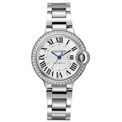 Cartier Ballon Bleu Automatic Steel and Diamond Ladies Watch W4BB0016