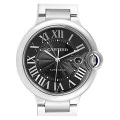 Cartier Ballon Bleu Black Guilloche Dial Steel Men's Watch W6920042