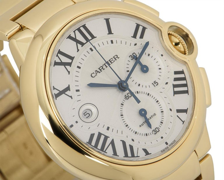 Cartier Ballon Bleu Chronograph Yellow Gold B&P W6920008 In Excellent Condition For Sale In London, GB