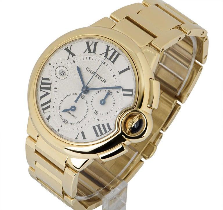 Men's Cartier Ballon Bleu Chronograph Yellow Gold B&P W6920008 For Sale