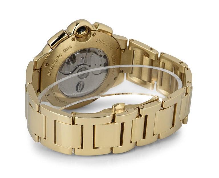 Cartier Ballon Bleu Chronograph Yellow Gold B&P W6920008 For Sale 1