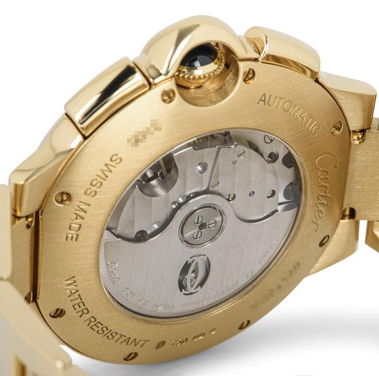 Cartier Ballon Bleu Chronograph Yellow Gold B&P W6920008 For Sale 2