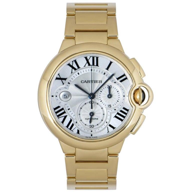 Cartier Ballon Bleu Chronograph Yellow Gold B&P W6920008 For Sale