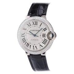 Cartier Ballon Bleu de Cartier Silvered Opaline Dial 18k Gold Diamond Watch