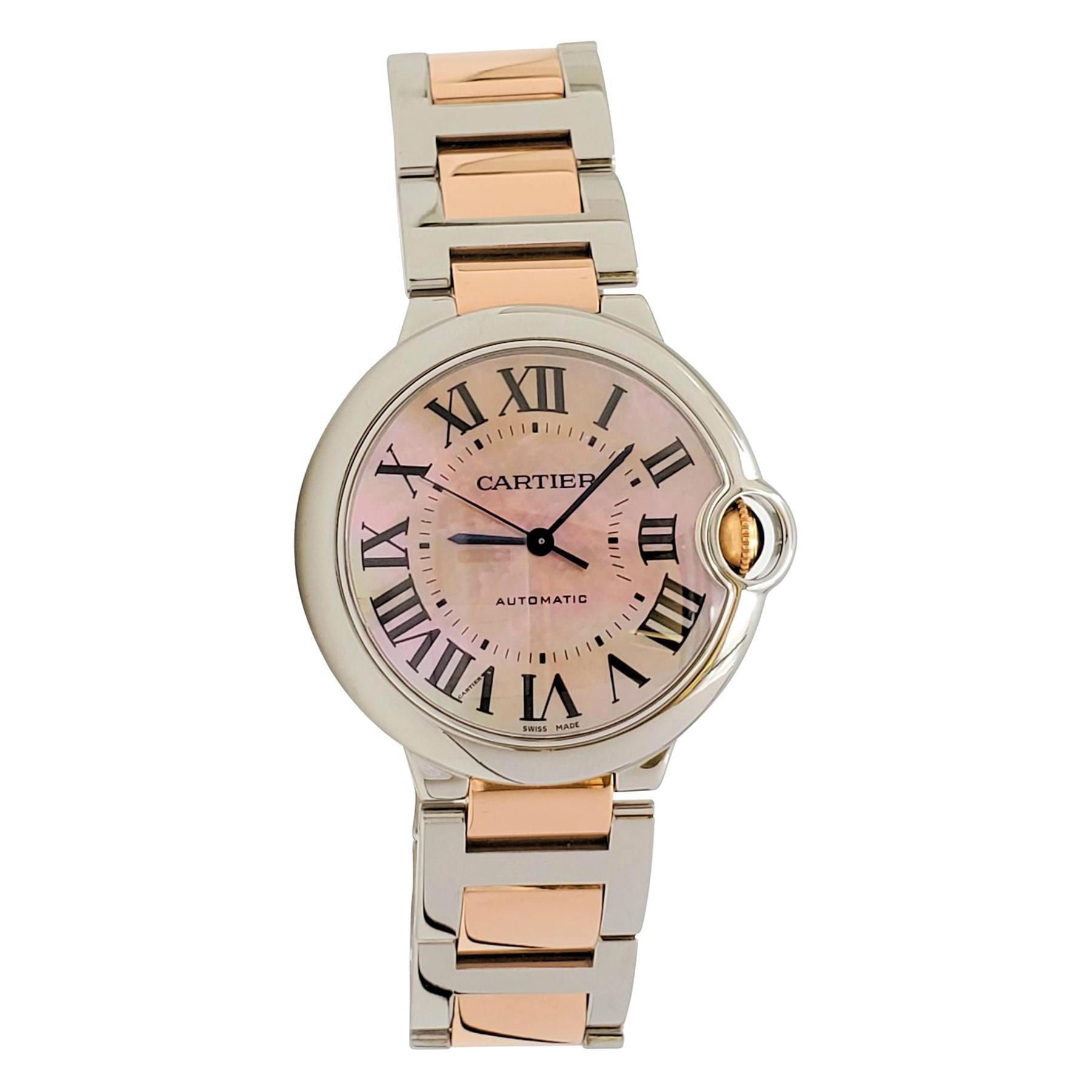 Cartier 'Ballon Bleu de Cartier' Stainless Steel and Rose Gold Watch