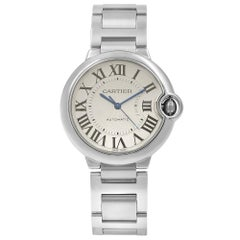 Cartier Ballon Bleu Guilloche Silver Dial Steel Automatic Midsize Watch W6920046