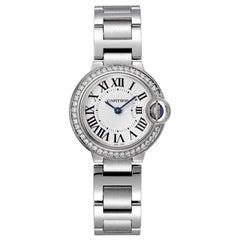 Cartier Ballon Bleu Quartz Movement Steel and Diamond Ladies Watch W4BB0015