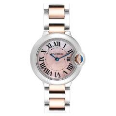 Cartier Ballon Bleu Rose Gold Steel MOP Ladies Watch W6920034 Box Papers