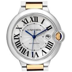 Cartier Ballon Bleu Silver Dial Steel Yellow Gold Men's Watch W69009Z3