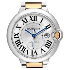 Cartier Ballon Bleu Silver Dial Steel Yellow Gold Men's Watch W69009Z3