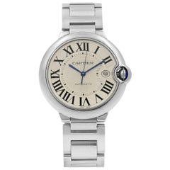 Cartier Ballon Bleu Silver Roman Guilloche Steel Automatic Men's Watch W69012Z4