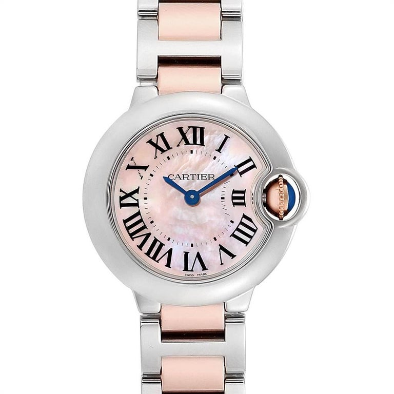 sale retailer bac9c 5805f Cartier Ballon Bleu Small Steel Rose Gold Mother of Pearl Ladies Watch  W6920034