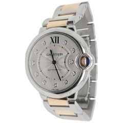 Cartier Ballon Bleu Stainless Steel Rose Gold Diamond Watch
