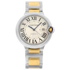 Cartier Ballon Bleu Steel 18K Gold Guilloche Silver Dial Men's Watch W2BB0022