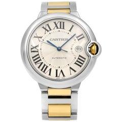Cartier Ballon Bleu Steel 18K Yellow Gold Guilloche Automatic Men Watch W2BB0022