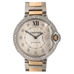 Cartier Ballon Bleu Steel and Rose Gold Diamond Bezel Markers Automatic 2 Carat