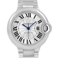 Cartier Ballon Bleu Steel Automatic Women's Watch W6920071 Box Papers
