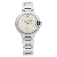 Cartier Ballon Bleu Steel Diamond Silver Dial Automatic Ladies Watch WE902074