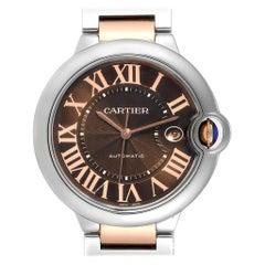 Cartier Ballon Bleu Steel Rose Gold Chocolate Dial Unisex Watch W6920032