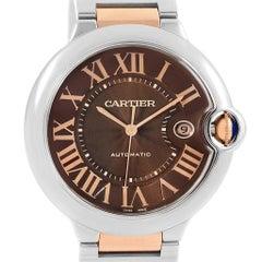 Cartier Ballon Bleu Stahl Rotgold Schokoladen Ziffernblatt Unisex Uhr W6920032