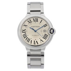Cartier Ballon Bleu Steel Silver Dial Automatic Men's Watch W69012Z4