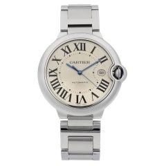 Cartier Ballon Bleu Steel Silver Guilloche Dial Automatic Men's Watch W69012Z4