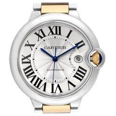 Cartier Ballon Bleu Steel Yellow Gold Men's Watch W69009z3 Box Papers