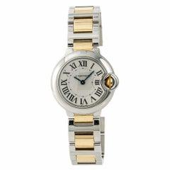 Cartier Ballon Bleu W69007Z3 Damen Quarz Uhr Silber Zifferblatt Zweifarbig SS
