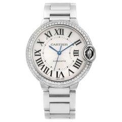 Cartier Ballon Bleu White Gold Diamond Bezel Silver Dial Watch WE9006Z3