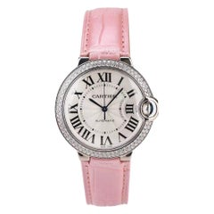 Cartier Ballon Bleu White Gold Diamond Watch with Pink Alligator Strap WJBB0011