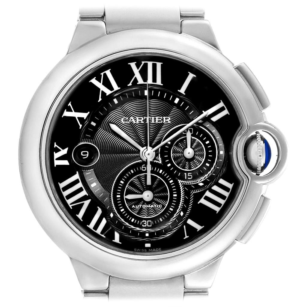 Cartier Ballon Bleu XL Black Dial Chronograph Steel Men's Watch W6920077