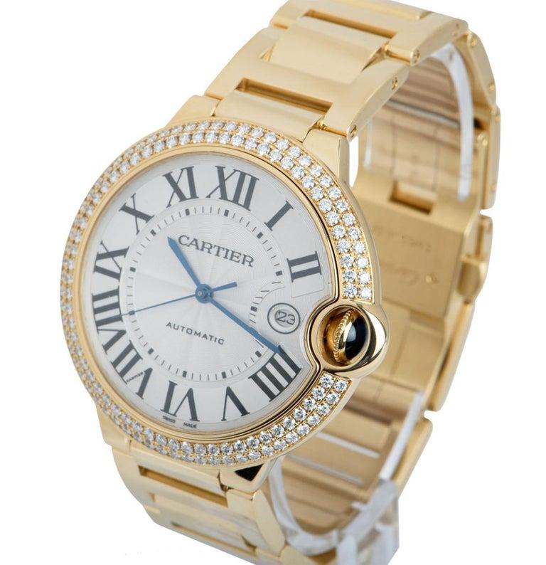 Round Cut Cartier Ballon Bleu Yellow Gold Diamond Set WE9007Z3 Watch For Sale