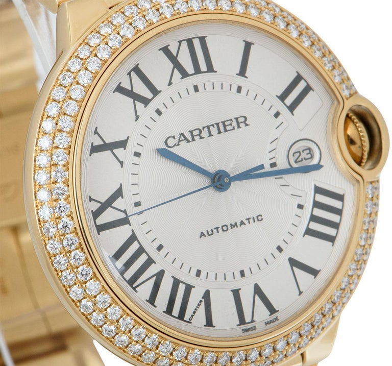 Cartier Ballon Bleu Yellow Gold Diamond Set WE9007Z3 Watch In Excellent Condition For Sale In London, GB