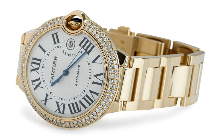 Men's Cartier Ballon Bleu Yellow Gold Diamond Set WE9007Z3 Watch For Sale
