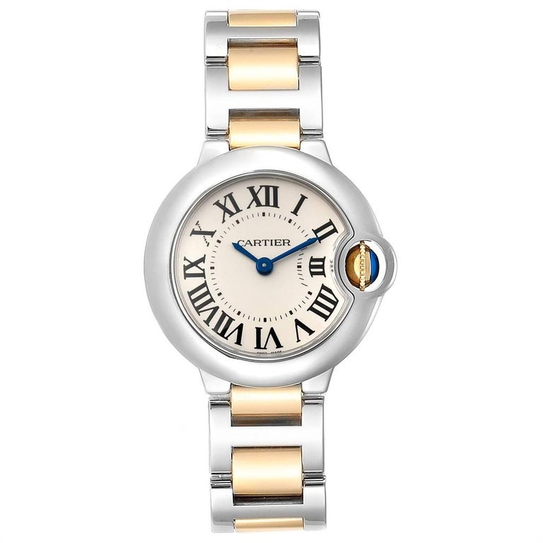 Cartier Ballon Blue 28mm Steel Yellow Gold Ladies Watch W69007Z3. Quartz movement. Round stainless steel case 29.0 mm in diameter. Fluted 18k crown set with the blue spinel cabochon. Stainless steel smooth bezel. Scratch resistant sapphire crystal.