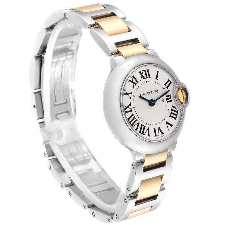 Cartier Ballon Blue Steel Yellow Gold Ladies Watch W69007Z3 In Excellent Condition For Sale In Atlanta, GA