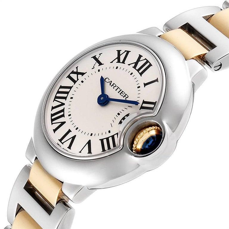 Cartier Ballon Blue Steel Yellow Gold Ladies Watch W69007Z3 For Sale 1