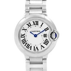 Cartier Ballon Blue 29 Silver Dial Blue Hands Ladies Watch W69010Z4