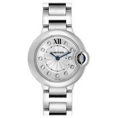 Cartier Ballon Blue Diamond Dial Steel Ladies Watch WE902073 Box Papers
