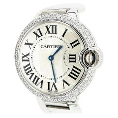 Cartier Ballon Blue, Quartz, 2 Carat Diamonds, Roman Numerals with Box and Paper